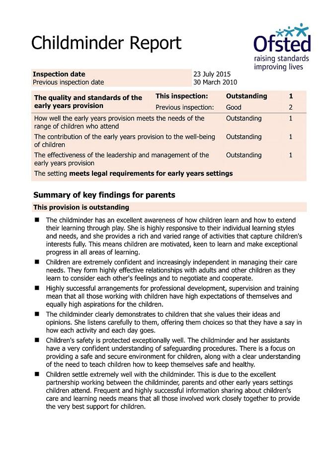 OfSted_Report Job Application Form Nursery Nurse on